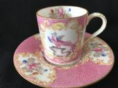 Minton Pink Cockatrice coffee can & saucer - RARE!